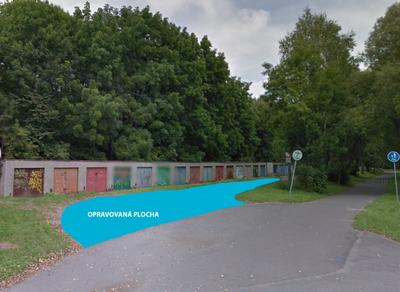 Informace k opravě příjezdové plochy ke garážím Šídlovecká - vlevo od Hrabovjanky