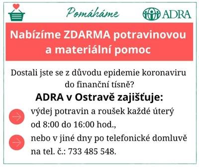 Ostravská ADRA nabízí zdarma potravinovou a materiální pomoc