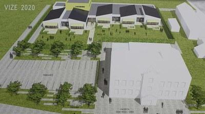 Video o tom, jak vypadá rozestavěná školka MŠ Bažanova z výšky.
