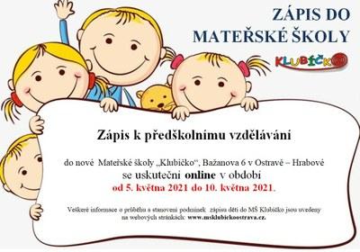 Zápis dětí do MŠ Klubíčko